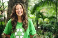 Woman in Recycle T-shirt