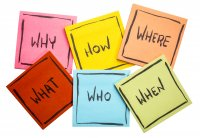 """Board with sticky notes reading """"who"""", """"what"""", """"when"""", """"where"""", """"when"""""""