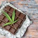Marijuana leaf with chocolate pieces