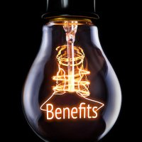 Lightbulb with word Benefits inside